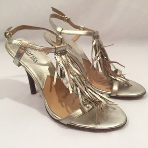 Michael Kors Silver Leather Fringe Strappy Heels